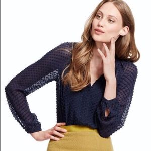 Boden Textured Silk Blouse in Navy Blue